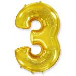 Воздушный шар (40''/102 см) Цифра, 3, Золото, 1 шт.